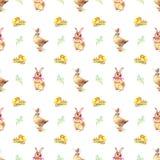 Coelho, pato e galinha do teste padrão Foto de Stock