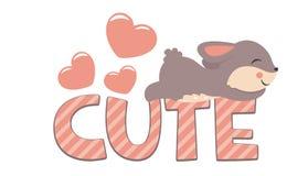 Coelho pequeno bonito que dorme no dia de Valentim bonito do texto Fotos de Stock