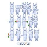 Coelhos ajustados do pixel para o jogo de vídeo de 8 bocados Imagem de Stock Royalty Free