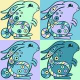 Coelhos bonitos no estilo étnico ilustração royalty free