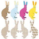 Coelhos coloridos Fotografia de Stock
