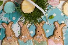 Coelhos coloridos da Páscoa no mel-bolo do ovo, grama, fotografia do alimento Foto de Stock