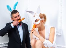 Coelhos da Páscoa Bunny Couple Boas festas Os pares com orelhas do coelho estão comendo a cenoura imagens de stock