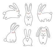Coelhos desenhados à mão ajustados Fotos de Stock Royalty Free