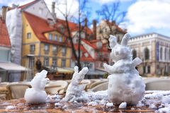 Coelhos do café da cidade da neve fotos de stock royalty free