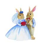 Coelhos do casamento da aquarela Fotografia de Stock