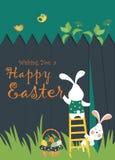 Coelhos e ovos de Easter ilustração royalty free