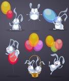 Coelhos engraçados com balões Fotos de Stock Royalty Free