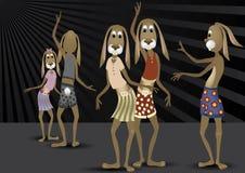 Coelhos engraçados da dança Fotos de Stock