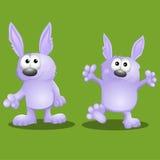 Coelhos engraçados dos desenhos animados Foto de Stock Royalty Free