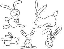 Coelhos engraçados do doodle Fotos de Stock