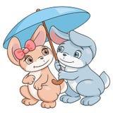 Coelhos fascinados com guarda-chuva Foto de Stock Royalty Free
