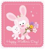 Coelhos felizes do dia de mãe Foto de Stock Royalty Free