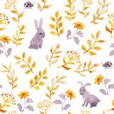 Coelhos, joaninhas, teste padrão ditsy bonito sem emenda da floresta do outono watercolor ilustração royalty free