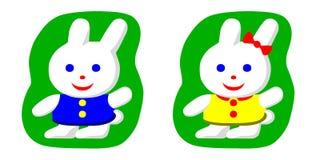 Coelhos, menino e menina pequenos Ilustração Royalty Free