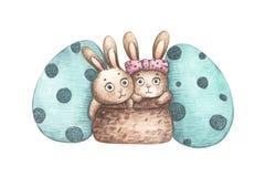 Coelhos na cesta com os ovos da páscoa isolados no fundo branco ilustração stock
