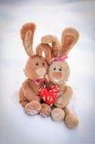 Coelhos no amor com um coração Foto de Stock Royalty Free
