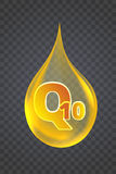 Coenzima Q10 Icono del aceite del vector del oro Foto de archivo