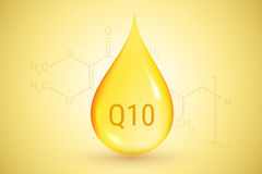 Coenzyme Q10. Gold drop of oil. Hyaluronic acid. Vector illustration. Stock Photo