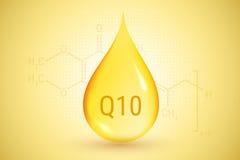 coenzyme q10 Guld- droppe av olja Hyaluronic syra också vektor för coreldrawillustration Arkivfoto