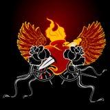 Coeur à ailes d'incendie rouge et Rose noire Image libre de droits