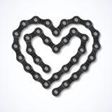 Coeur à chaînes de bicyclette Photo stock