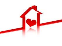Coeur à l'intérieur dans la maison illustration libre de droits