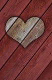 coeur 3D en bois pour le jour de Valentine Photographie stock