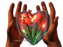 coeur 3D sur les mains 3D illustration libre de droits