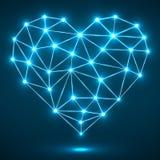 Coeur abstrait avec les points et les lignes rougeoyants, connexions réseau Photographie stock