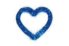 Coeur abstrait d'étincelle bleue de scintillement sur le blanc Photo libre de droits