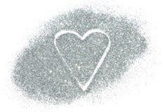 Coeur abstrait de l'étincelle argentée de scintillement sur le fond blanc Image libre de droits
