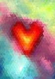 Coeur abstrait de mosaïque de triangle sur le fond coloré illustration stock