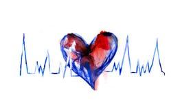 Coeur abstrait fait en symbole de concept d'aquarelle, d'amour et de santé Image stock