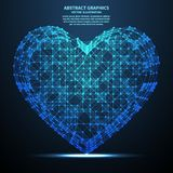 Coeur abstrait, illustration de vecteur Connexions réseau avec des points et des lignes Fond abstrait de technologie Image libre de droits