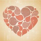 Coeur abstrait rouge de vecteur rétro Photo stock