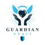 Coeur affectueux dans des mains humaines, donnant la métaphore d'aide Saint-Esprit GR illustration stock