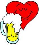 Coeur affectueux de bière Photographie stock