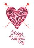 Coeur-amorçage-tricoter-pointeaux Images stock
