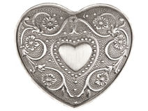 Coeur argenté sur le blanc Image stock