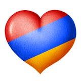 Coeur arménien de drapeau d'isolement sur le fond blanc Dessin au crayon illustration libre de droits