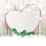 Coeur Ash Wooden Background de vente de scintillement de chutes de neige Photos stock