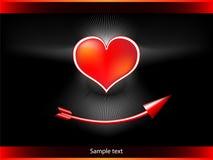 Coeur au-dessus d'une flèche Photo stock