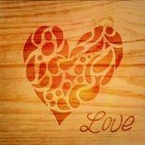 Coeur au-dessus de fond en bois Photographie stock