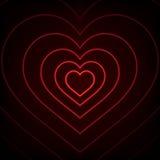Coeur au néon rouge Fond Photo stock