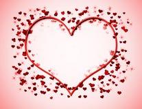 Coeur au néon sur le rose Image libre de droits