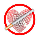 coeur aucun fumage de signe Photos libres de droits