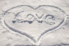 Coeur avec amour de mot Photographie stock