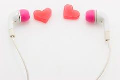Coeur avec des écouteurs Image libre de droits