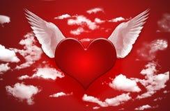 Coeur avec des ailes Photographie stock